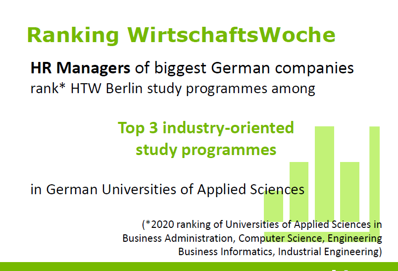 picture of industry rankings of HTW Berlin